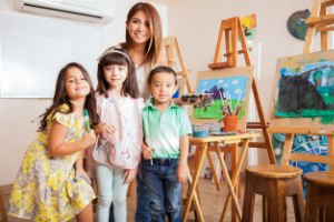 Preschool Students, Teacher & Artwork