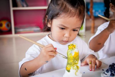 Preschool child painting